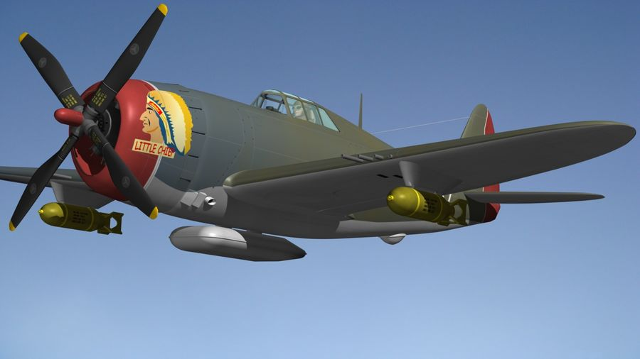 P47D Razorback royalty-free 3d model - Preview no. 6
