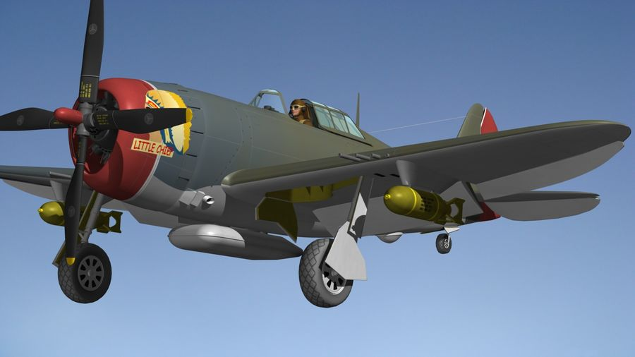 P47D Razorback royalty-free 3d model - Preview no. 5