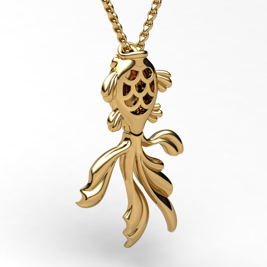 Gold Fish pendant royalty-free 3d model - Preview no. 2
