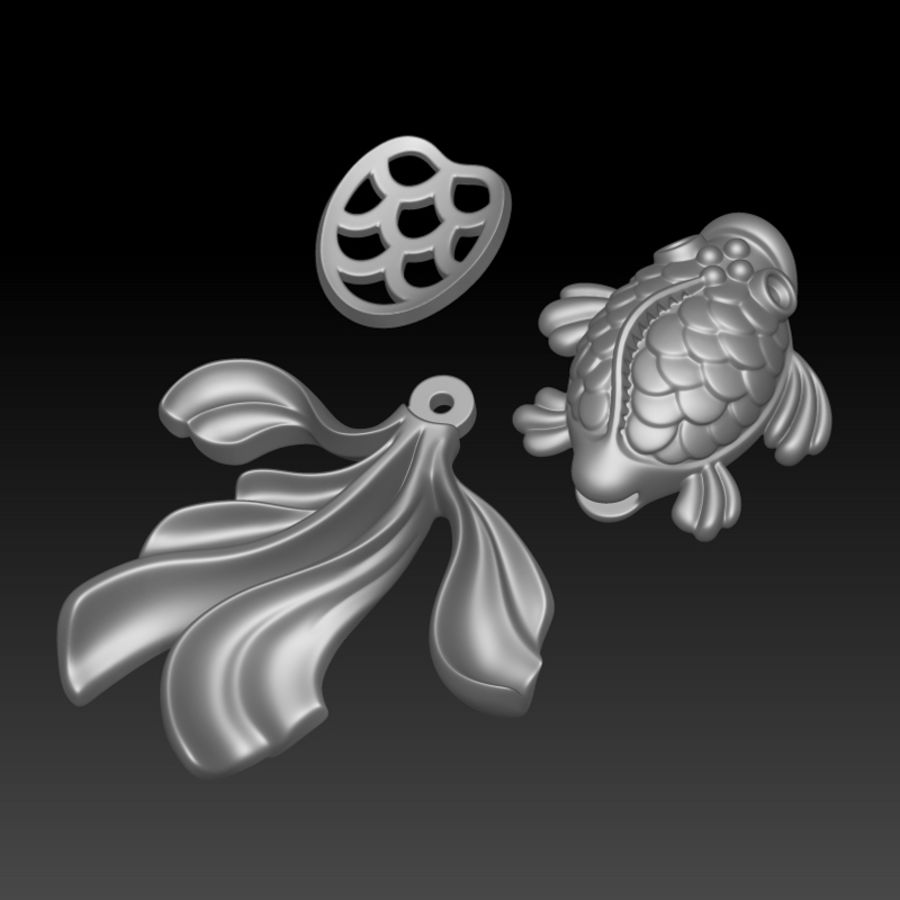 Gold Fish pendant royalty-free 3d model - Preview no. 6