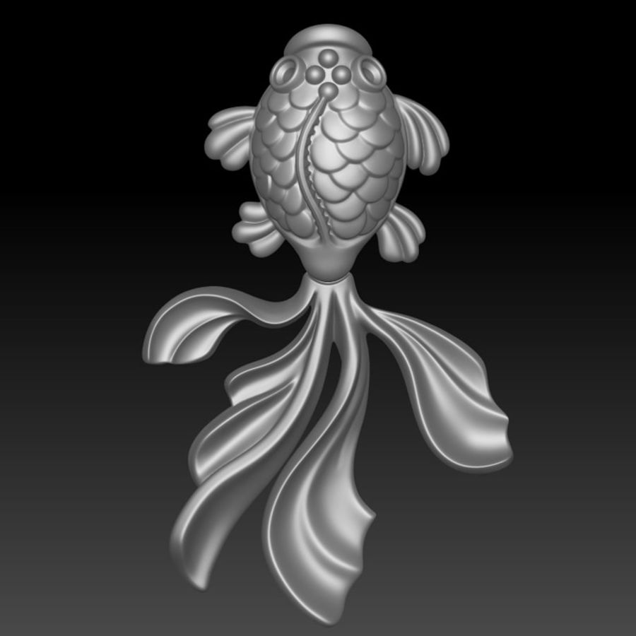 Gold Fish pendant royalty-free 3d model - Preview no. 3