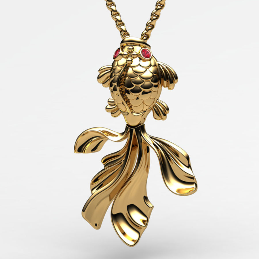 Gold Fish pendant royalty-free 3d model - Preview no. 1