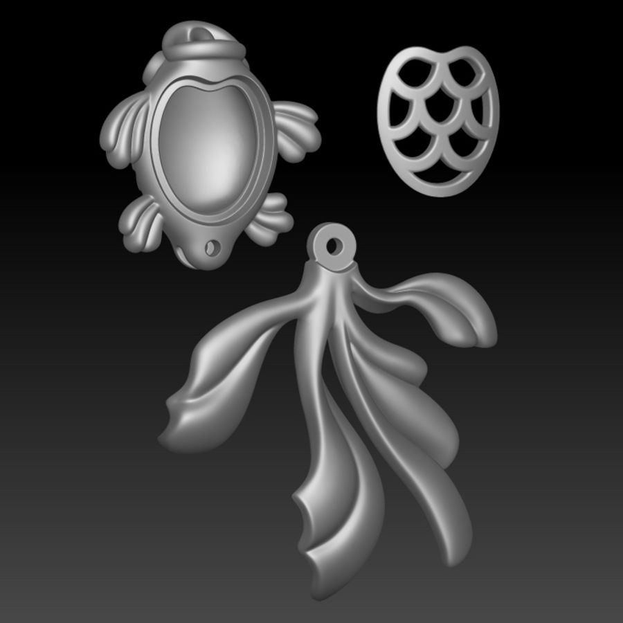 Gold Fish pendant royalty-free 3d model - Preview no. 5