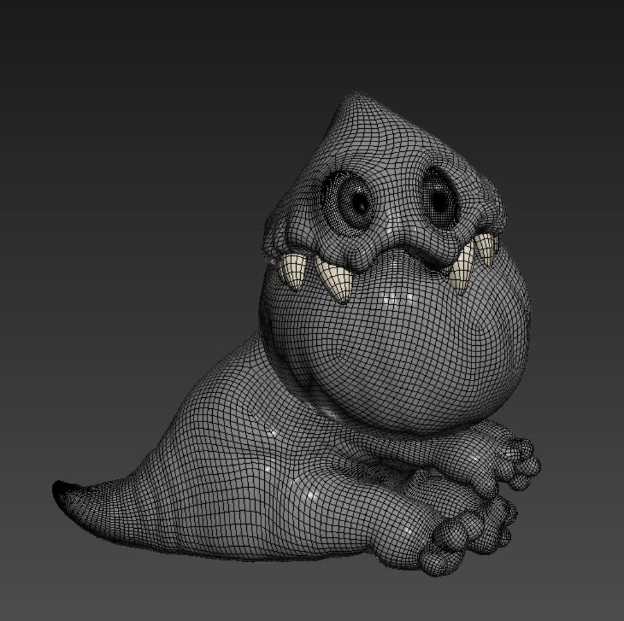 Blue cartoon monster royalty-free 3d model - Preview no. 5