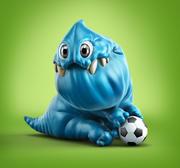 Potwór z kreskówek niebieski 3d model