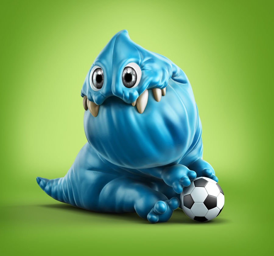 Blue cartoon monster royalty-free 3d model - Preview no. 1