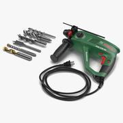 Pneumatic Hammer Bosch with Drill Bits 3d model