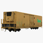 Railroad Refrigerator Car Yellow 3D 모델 3d model