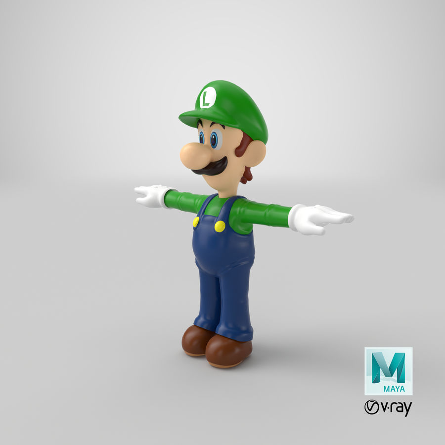 Luigi royalty-free 3d model - Preview no. 23