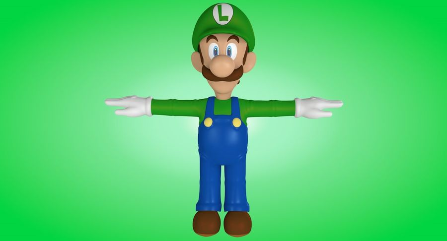Luigi royalty-free 3d model - Preview no. 7