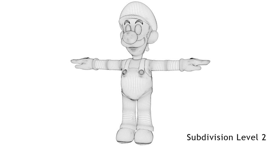 Luigi royalty-free 3d model - Preview no. 10