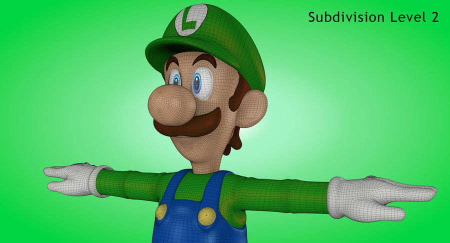 Luigi royalty-free 3d model - Preview no. 18