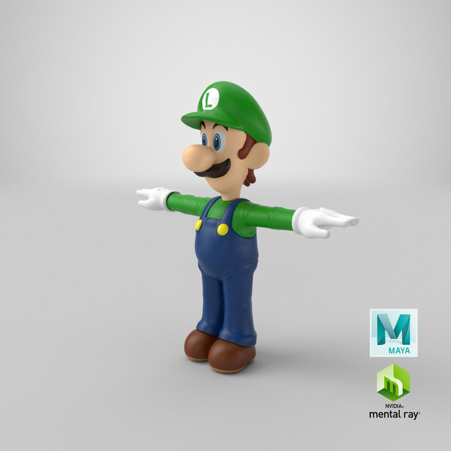 Luigi royalty-free 3d model - Preview no. 24