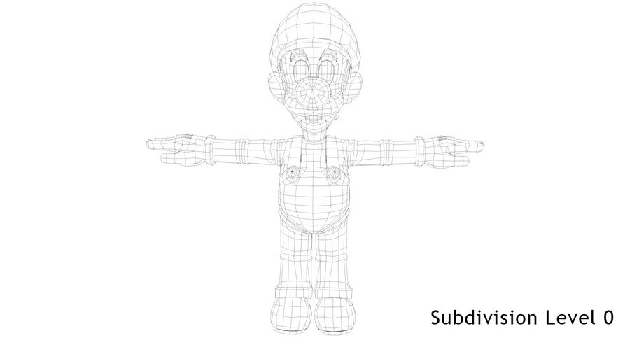 Luigi royalty-free 3d model - Preview no. 15