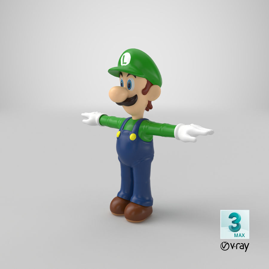 Luigi royalty-free 3d model - Preview no. 25
