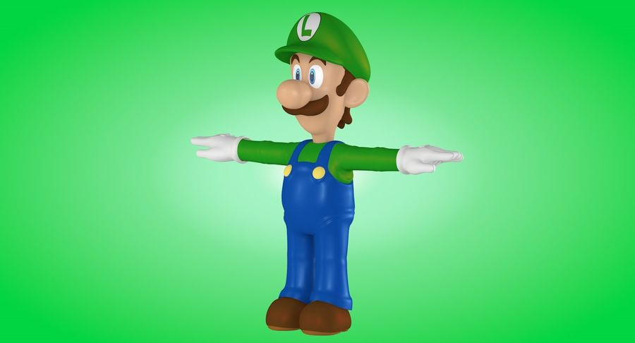 Luigi royalty-free 3d model - Preview no. 6