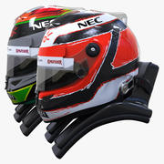 Force India 2015 style racing helmets 3d model