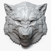 Angry Wolf Face Relief Sculpture 3d model