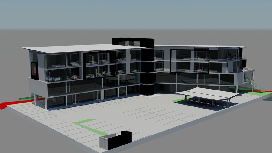Architecture Building 34 royalty-free 3d model - Preview no. 3