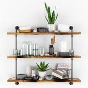 Hyllor med köksutrustning och växter 3d model