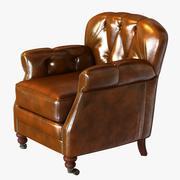 ノワール家具クラブ椅子ヴィンテージシガーレザー 3d model