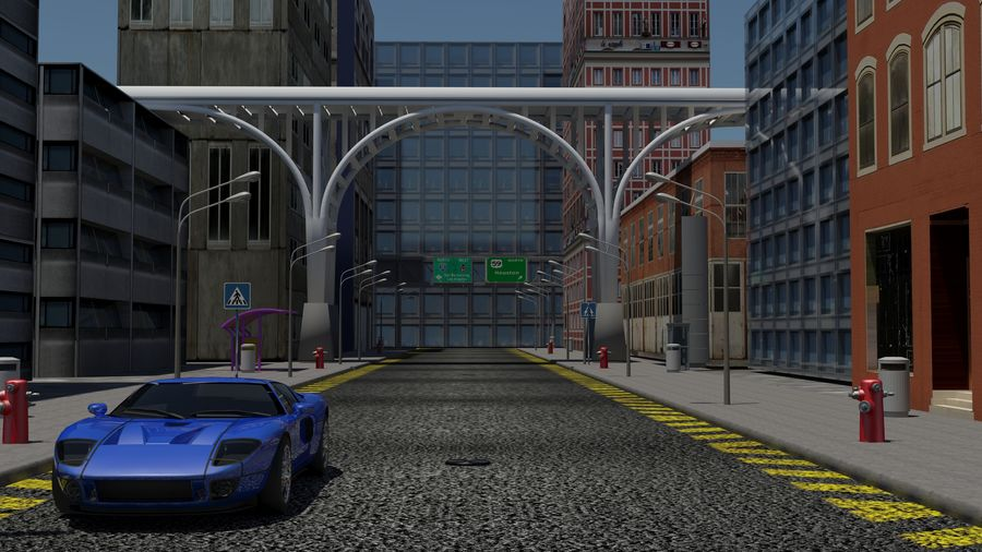 Architecture City Scene royalty-free 3d model - Preview no. 1
