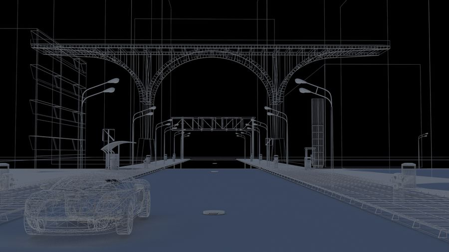 Arquitectura ciudad escena royalty-free modelo 3d - Preview no. 6