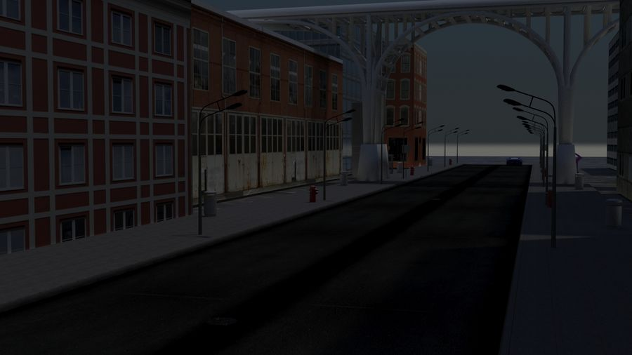 Architecture City Scene royalty-free 3d model - Preview no. 5