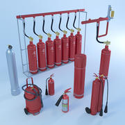 Fire extinguisher pack 3d model