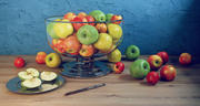 Äpplen med bunke och maträtt 3d model