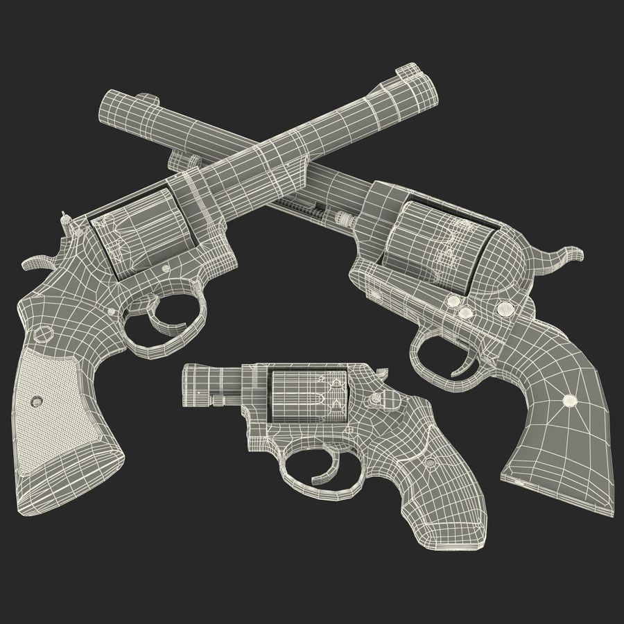 Revolvers-collectie royalty-free 3d model - Preview no. 80