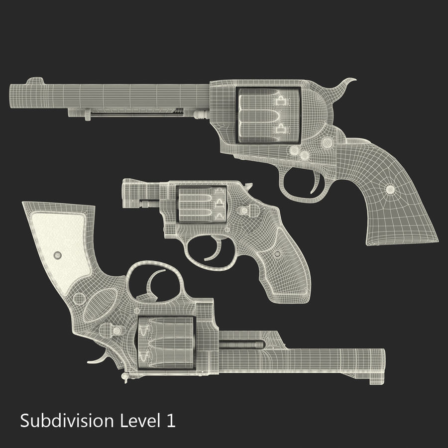 Revolvers-collectie royalty-free 3d model - Preview no. 64