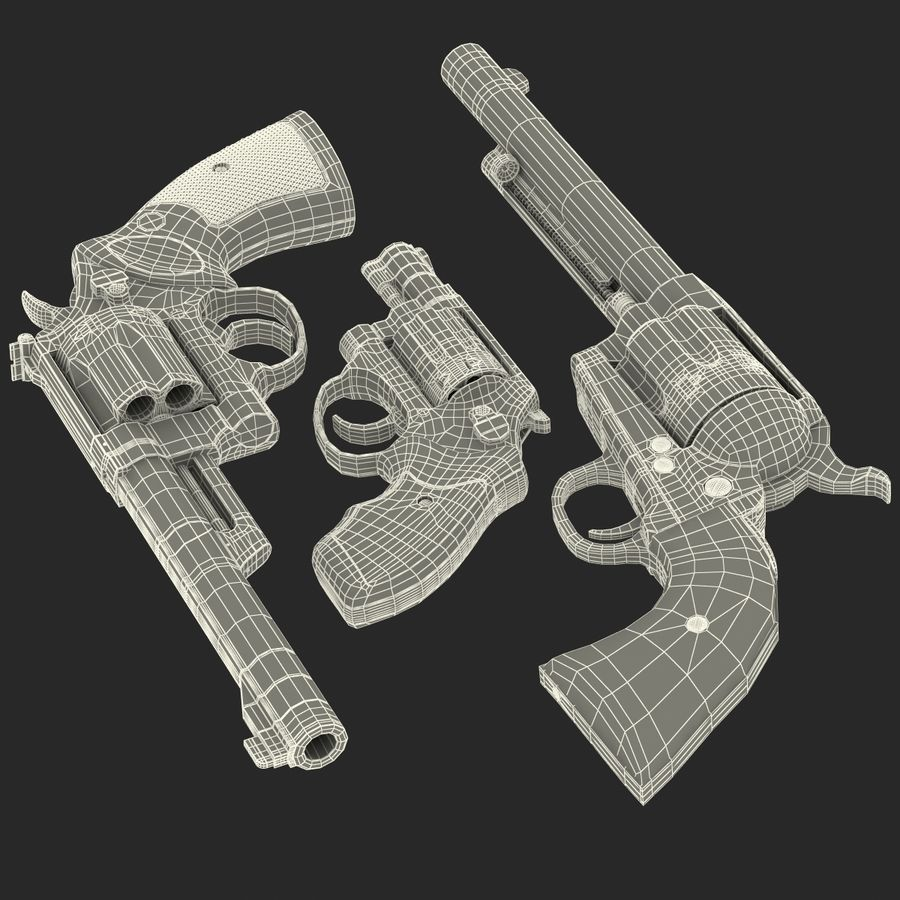 Revolvers-collectie royalty-free 3d model - Preview no. 79