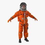 Американский астронавт в улучшенном спасательном костюме ACES 3d model