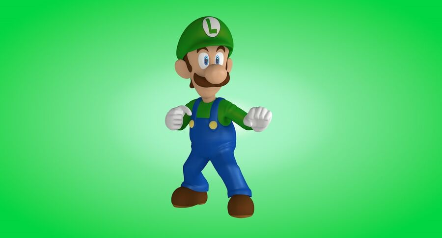 Luigi Rigged royalty-free 3d model - Preview no. 12