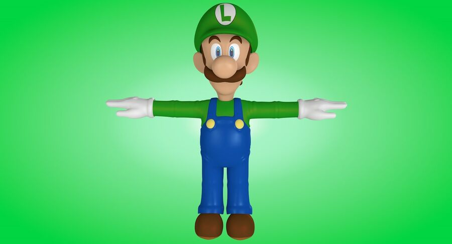 Luigi Rigged royalty-free 3d model - Preview no. 7