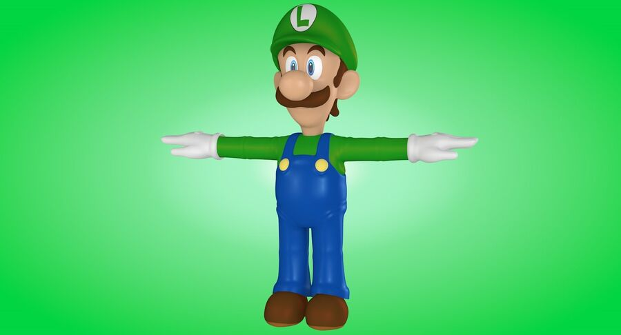 Luigi Rigged royalty-free 3d model - Preview no. 3