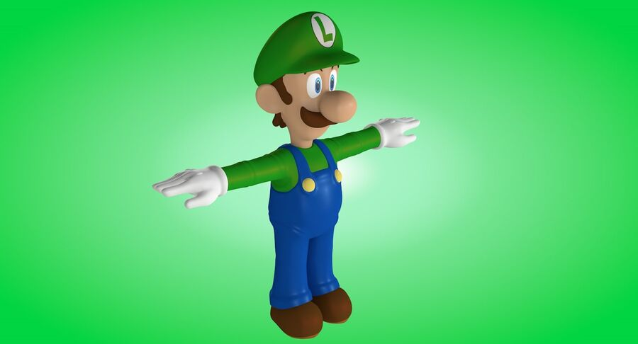 Luigi Rigged royalty-free 3d model - Preview no. 4