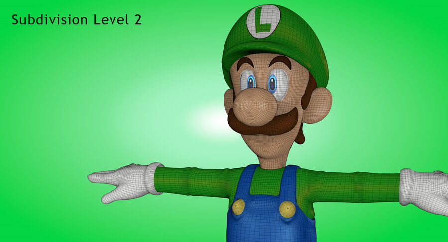 Luigi Rigged royalty-free 3d model - Preview no. 22