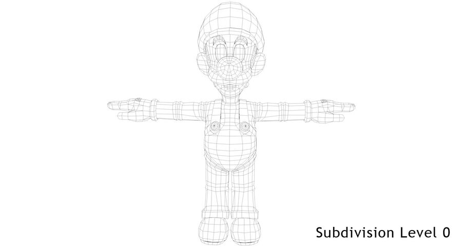 Luigi Rigged royalty-free 3d model - Preview no. 19