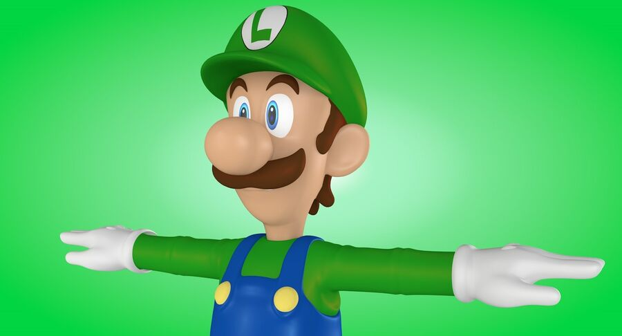 Luigi Rigged royalty-free 3d model - Preview no. 8