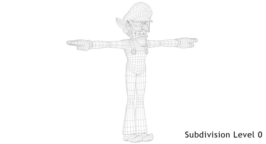 Waluigi Rigged royalty-free 3d model - Preview no. 19
