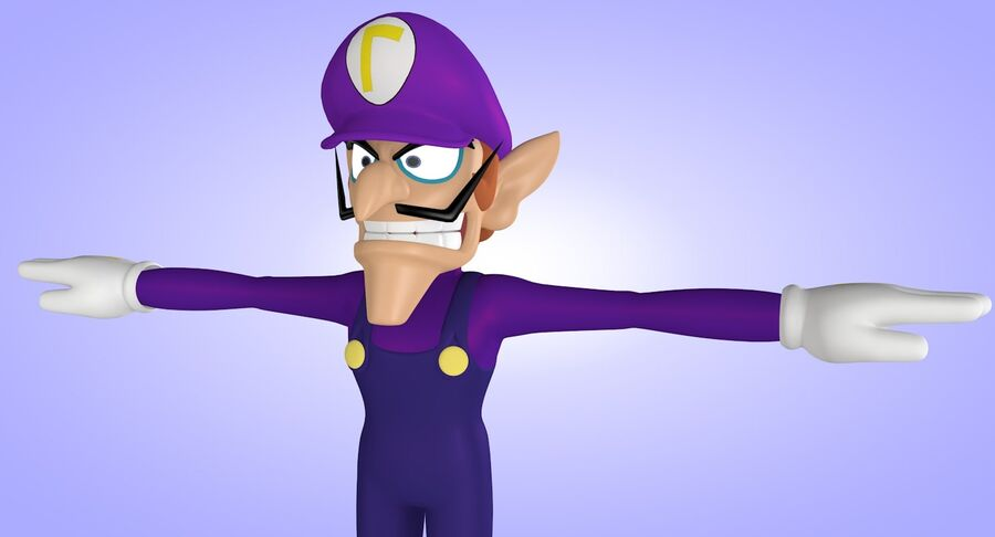 Waluigi Rigged royalty-free 3d model - Preview no. 8