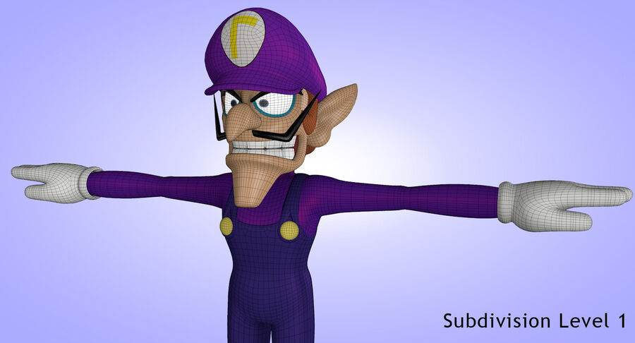 Waluigi Rigged royalty-free 3d model - Preview no. 22