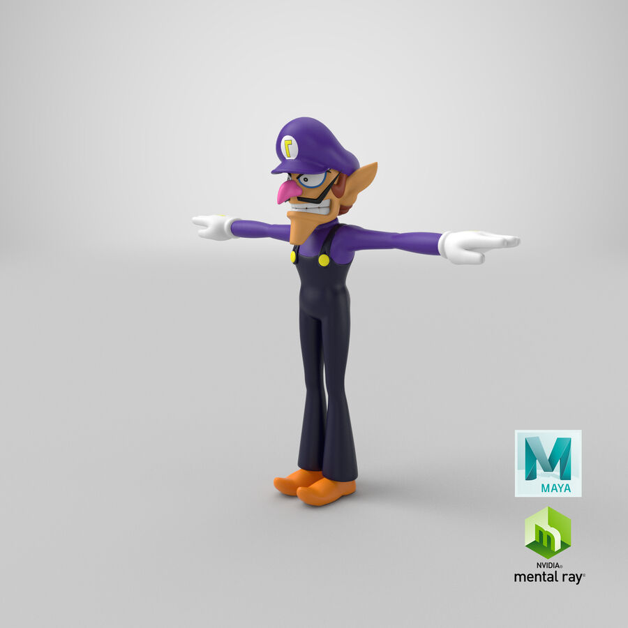 Waluigi Rigged royalty-free 3d model - Preview no. 29