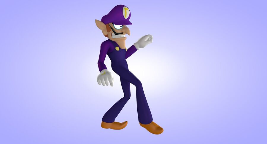 Waluigi Rigged royalty-free 3d model - Preview no. 11