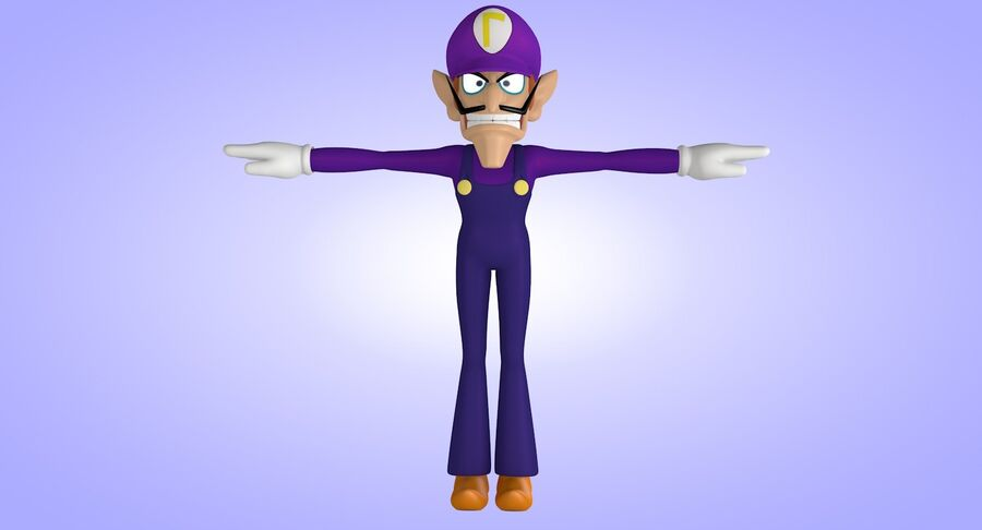 Waluigi Rigged royalty-free 3d model - Preview no. 7