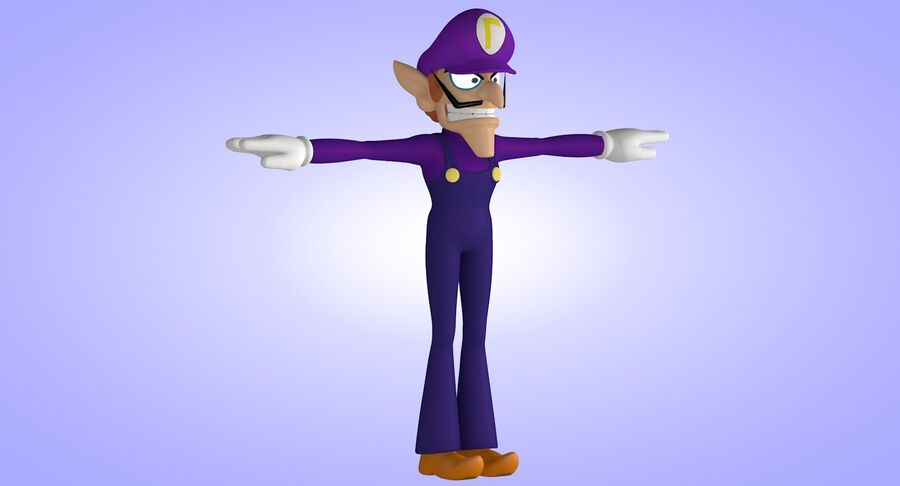 Waluigi Rigged royalty-free 3d model - Preview no. 6