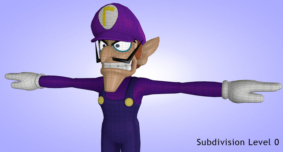 Waluigi Rigged royalty-free 3d model - Preview no. 21