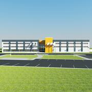 Magazijn gebouw buitenkant 3d model